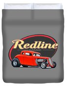 Redline Hot Rod Garage Duvet Cover