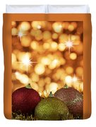 Red,yellow And Gold Cristmas Baubles Duvet Cover