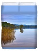 Reeds And An Islet In Lough Macnean Duvet Cover