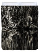 Reeds And Heron Duvet Cover