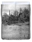 Reeds And Religion Black And White Duvet Cover