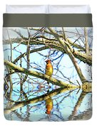 Refection Of Cedar Waxwing Duvet Cover