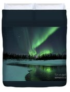 Reflected Aurora Over A Frozen Laksa Duvet Cover by Arild Heitmann