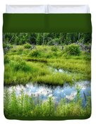 Reflected Clouds In Grass Duvet Cover