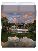 Reflecting At Chinese Garden Duvet Cover