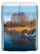 Reflecting In Threes - Three Trees By The Lake Duvet Cover