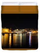 Reflecting On Malta - Cruising Out Of Valletta Grand Harbour Duvet Cover