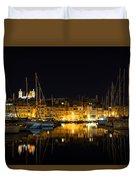 Reflecting On Malta - Senglea Golden Night Magic Duvet Cover