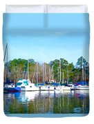 Reflecting The Masts - Watercolor Style Duvet Cover