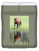 Reflecting Horse Near Water Duvet Cover