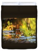 Fall Reflections 5 On Jamaica Pond Duvet Cover
