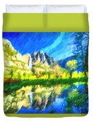 Reflection In Merced River Of Yosemite Waterfalls Duvet Cover
