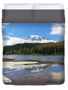 Reflection Lakes In Mount Rainier National Park Duvet Cover