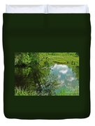Reflection Of A Tree And Clouds Duvet Cover