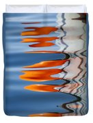 Water Reflection Of Orange Blobs And Black Zig Zagging Lines Duvet Cover