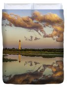 Reflection Of Clouds And Lighthouse Duvet Cover