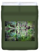 Reflection Of Cypress Trees Duvet Cover