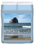 Reflection Of Haystock Rock  Duvet Cover