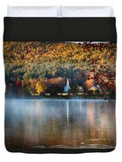 Reflection Of Little White Church With Fall Foliage Duvet Cover