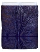 Reflection On Trees In The Dark Duvet Cover