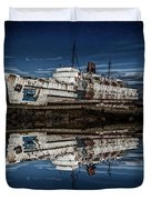 Reflections From The Duke Of Lancaster Ship  Duvet Cover