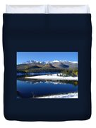 Reflections Of Pikes Peak In Crystal Reservoir Duvet Cover