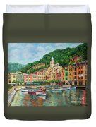 Reflections Of Portofino Duvet Cover by Charlotte Blanchard
