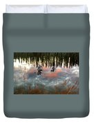 Reflections Off Pond In British Columbia Duvet Cover