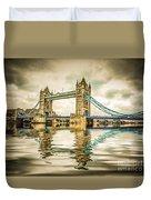 Reflections On Tower Bridge Duvet Cover