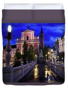 Reflections On Wet Triple Bridge After Rain At Dawn With Lights  Duvet Cover