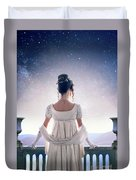 Regency Woman Looking At The Stars In The Night Sky  Duvet Cover