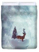 Reindeer In Glass Snow Globe  Duvet Cover