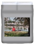Relaxing Under Cherry Blossoms Duvet Cover