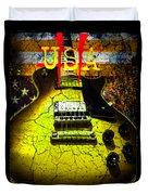 Relic Guitar Music Patriotic Usa Flag Duvet Cover