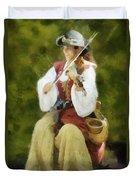 Renaissance Fiddler Lady Duvet Cover