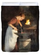 Renaissance Lady Blacksmith Duvet Cover