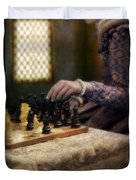 Renaissance Lady Playing Chess Duvet Cover