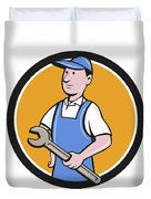 Repairman Holding Spanner Circle Cartoon  Duvet Cover