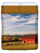 Red Barn Autumn Landscape Duvet Cover