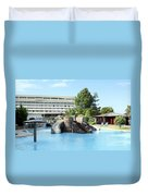 Resort With Swimming Pool Summer Vacation Scene Duvet Cover