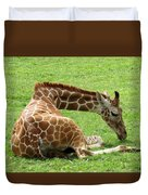 Resting Giraffe Duvet Cover