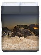 Resting Green Sea Turtle Duvet Cover