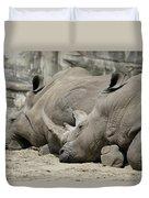 Resting Rhinos Duvet Cover
