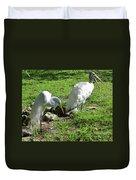 Resting Wood Stork And White Egret Duvet Cover