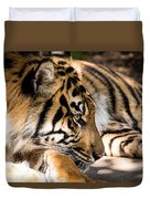 Resting Yet Watchful Tiger Duvet Cover