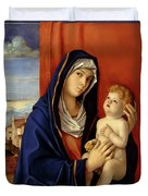Restored Old Master Madonna And Child  Duvet Cover