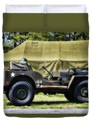 Restored Willys Jeep And Tent At Fort Miles Duvet Cover