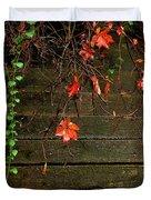 Retaining Wall In Autumn Duvet Cover
