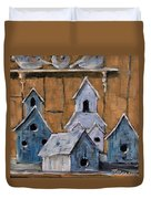 Retired Bird Houses By Prankearts Fine Arts Duvet Cover