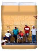 Retired Men And Yellow Wall Cartegena Duvet Cover